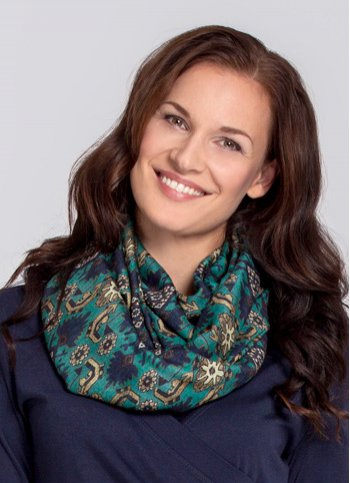 Patterned turquoise snood  Female dress