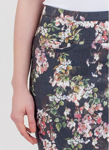 Denim pencil skirt June with floral print Female dress