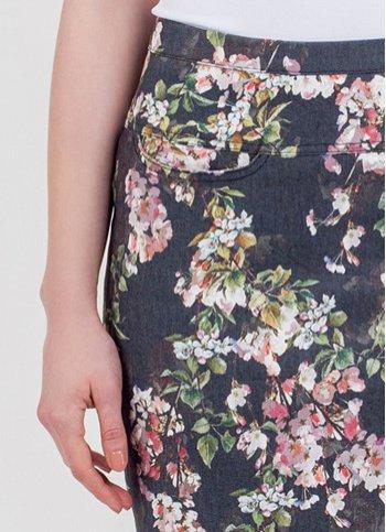 Džínová květovaná sukně June Dámské oděvy Džínová květovaná sukně June Dámské  oděvy 8d1f4afa2c