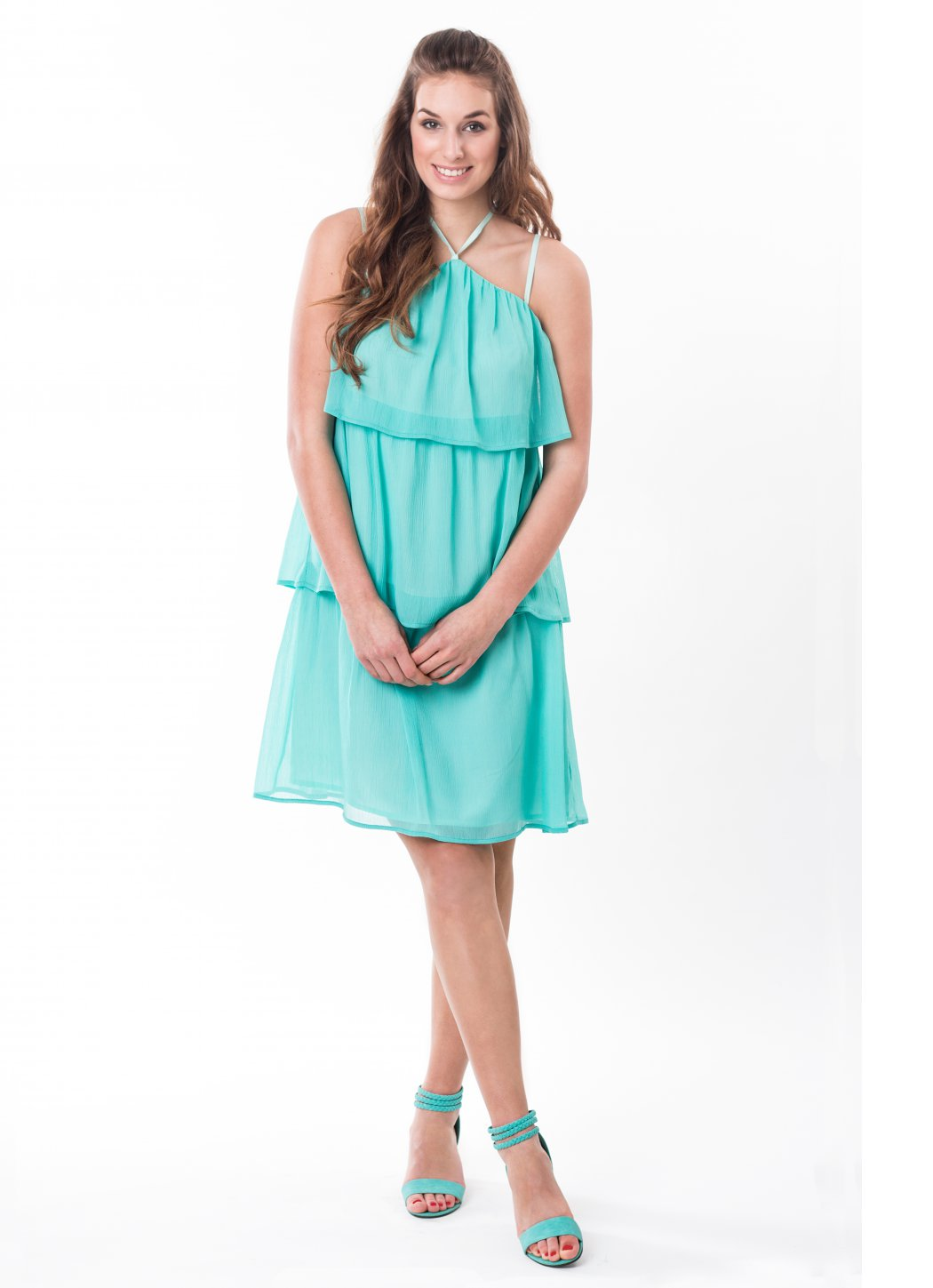 Dress with ruffles Aqua Female dress