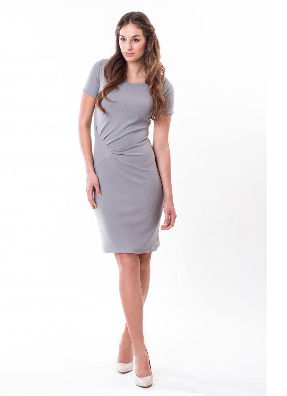 c63e13aa3778 Jednobarevné úpletové šaty Onyx grey Dámské oděvy ...